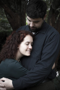 romantic portrait of engaged couple