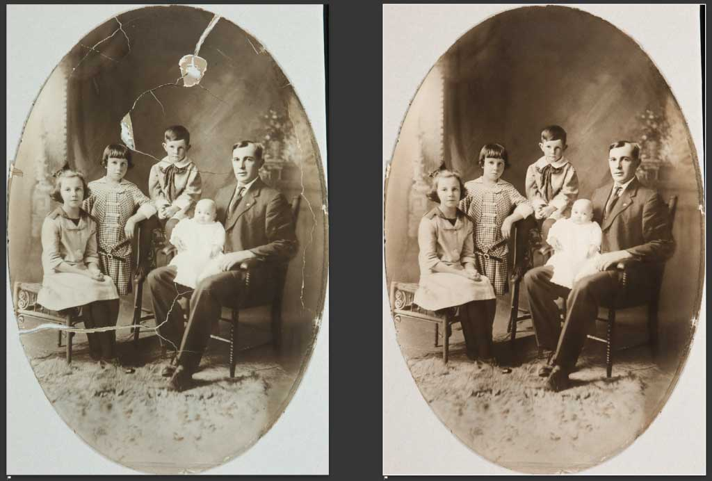 old damaged photograph before and after restoration